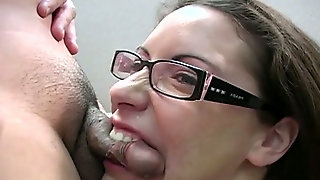 Ugly busty brunette in glasses deep throats staff smell penis ardently