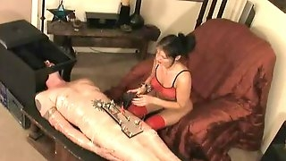 Electro shock pain for the submissive man