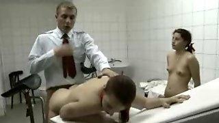 Doctor fucks schoolgirls in his exam room