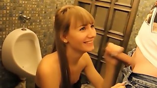 College girl in leather dress have quick sex in restaurant toilet
