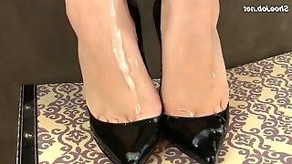 High heels cumshot latex gloves