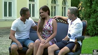 Tantalizing Russian babe Ellen Betsy is fucked by two horny fellows