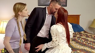 Dude fucks pretty ginger bride Danni Rivers and her lustful girlfriend