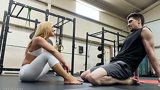 Boxing coach fucks deep throat and wet pussy of fitness chick Lilly Lit