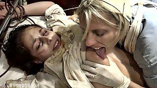 BDSM styled hardcore sex with poor brunette hottie