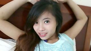 Diminutive cute chinese lady