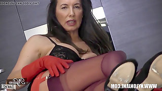 Huge-boobed mummy with long gams wrapped in fully fashioned nylons