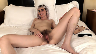 Esme masturbates in bed with her black toy - Compilation - WeAreHairy